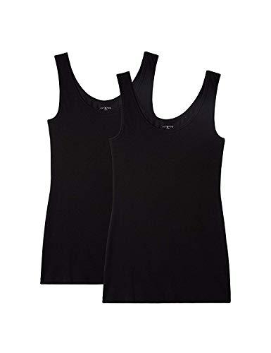Iris & Lilly Unterhemd Damen aus Baumwoll-Jersey mit U-Ausschnitt, 2er Pack, Schwarz, Large