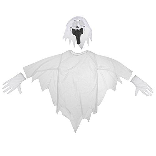 (Weißer Geist Kleid Mit Kapuzen Maske Und Handschuhe Kind Halloween-Kostüm)