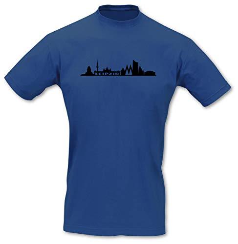 Samunshi® T-Shirt Leipzig Skyline, Imperial Größe XXL, royal blau/schwarz