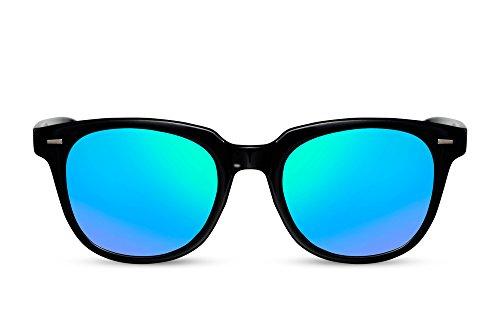 Cheapass Sonnenbrille Schwarz Recht-Eckig Blau-Grün Verspiegelt Rund-e Designer-Brille Nerd Plastik Damen Herren