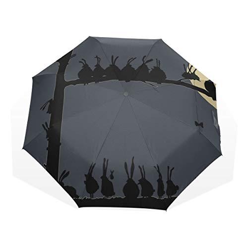 Reiseregenschirm Schöne Kinderschmuck Little Rabbit Anti Uv Compact 3 Falten Kunst Leichte Faltbare Regenschirme (Außendruck) Winddicht Regen Sonnenschutz Regenschirme Für Frauen Mädchen Kinder - Sonnenschutz-bundle