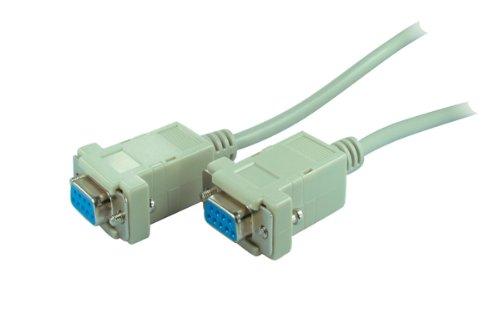Preisvergleich Produktbild 1,8m Null Modem Verbindungs Kabel PC D-Sub Buchse auf D-Sub Buchse 9-polig grau Schnapphauben
