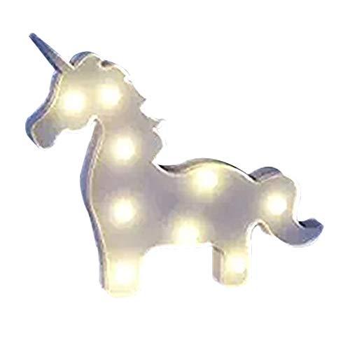 Missley Unicorn Tête LED Nuit Lampe Décorative Lumière pour Fête D'anniversaire et Cadeaux Décoration Murale (Licorne-blanc)