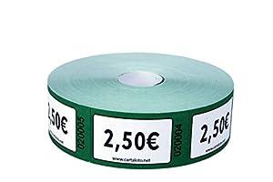 CARTALOTO - Rollo de 1000 Etiquetas Valor 2.00€ -Verde, BITR2503, Multicolor