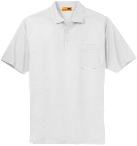 Eckpfeiler/rot-Kap Industrial Pocket Pique Polo Weiß - Weiß