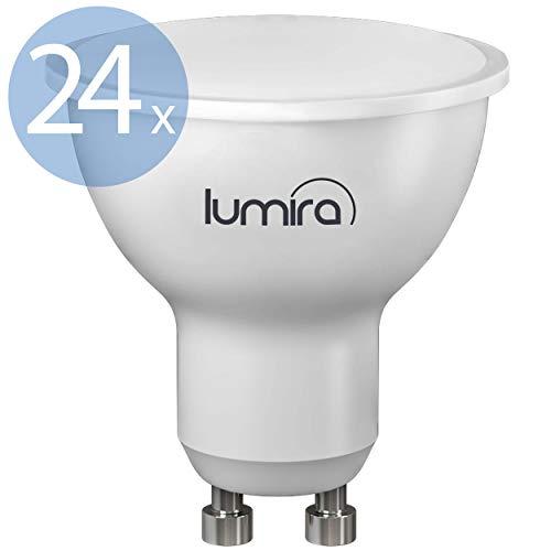 Lumira LED GU10 Leuchtmittel, 5 Watt LED Lampe, Ersatz für 50 W Halogenlampe, Warmweiß, 24er Set -