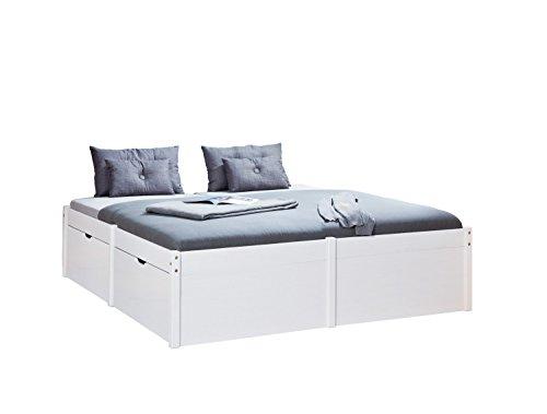 Inter Link Bett Bed Gästebett Funktionsbett Doppelbett Stauraumbett nachhaltigeres Massivholz Weiss lackiert