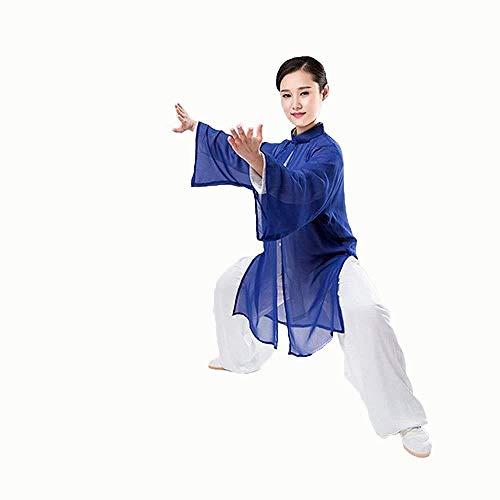 Abito A Tre Pezzi Abbigliamento Tai Chi Kung Fu Cinese Lino in Cotone per Arti Marziali Cinesi Non Sbiadisce Abito A Maniche Lunghe Tang,D-S