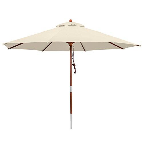 anndora 300020 Sonnenschirm, natur, 300 cm rund, Gestell Holz, Bespannung Polyester, 9.5 kg