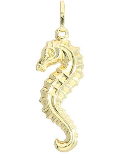 MyGold Seepferdchen Anhänger (Ohne Kette) Gelbgold 585 Gold (14 Karat) Glanz Dreidimensional 30mm x 9mm Kettenanhänger Goldanhänger Geschenke Für Frauen Mädchen Water Pony A-03491-G401