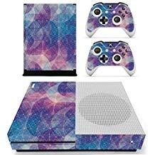 eseeking ganzen Körper Vinyl Haut Aufkleber Aufkleber Cover für Microsoft Xbox One Slim Konsole blau & violett Zirkular