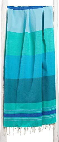 ZusenZomer Fouta Hamamtuch Damen XL Casablanca 100x190 - Hammam Badetuch Strandtuch Hammamtuch - 100% gekämmte Baumwolle - Fair Trade Hamam Handtücher (Meergrün) (Hamam Handtuch)