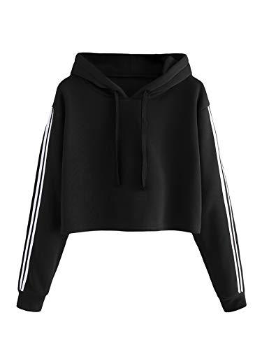 DIDK Damen Crop Hoodie Kurz Sweatshirt Pullover Langarm Patchwork Oberteile Langarmshirts mit Streifen Schwarz L -