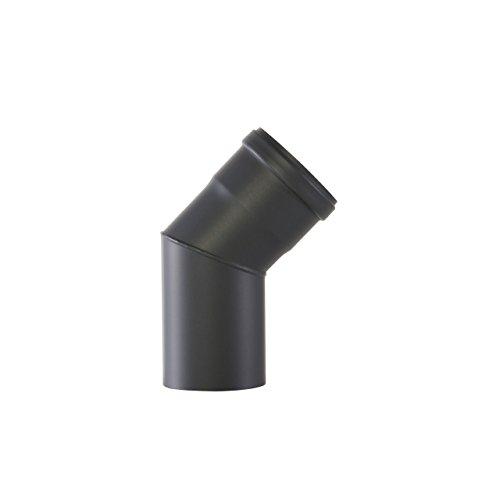 Kamino Flam Bogenknie schwarz, Winkel von 45°, Winkelrohr spezielll für Pelletöfen, Abgasrohr aus Stahl mit hitzebeständiger Senotherm Beschichtung, geprüft nach Norm EN 1856-2, Maße: Ø ca. 80 mm
