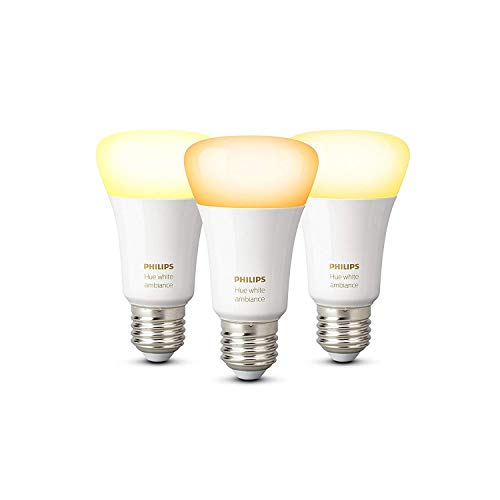 Philips Hue White Ambiance - Pack de 3 bombillas LED E27, 9.5 W, iluminación inteligente, tonos de luz blanca cálida y fría regulable (compatible con Amazon Alexa, Apple HomeKit y Google Assistant )