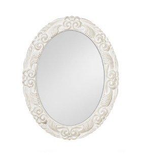 Specchiera ovale in legno bianca stile vintage con fregi in rilievo L'ARTE DI NACCHI NT-37