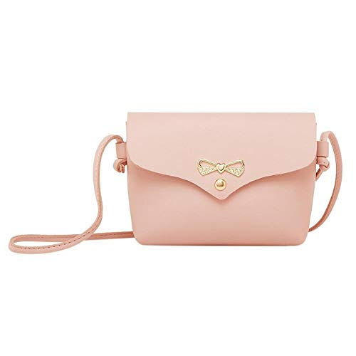 Gaodaweian Retro minimalistische Tasche Casual Flap Umhängetasche Frauen Bowknot Pure Mini Messenger Handtasche Geeignet für Damen einkaufen (Color : Pink, Size : M) - Color Enhancer