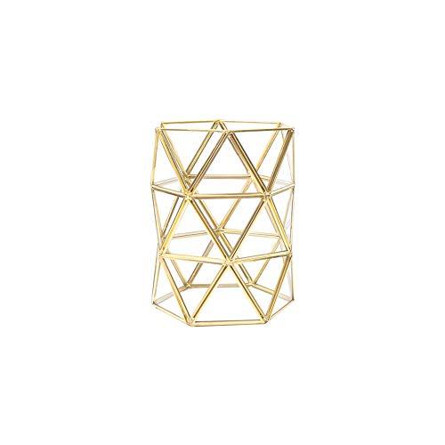 Xiton 1Pc Vintage-Verfassungs-Bürsten-Zylinder Schmuck Organizer Spiegelglas Tray Handmade Startseite Dekorative Metall Tray Geometrischer Typ -