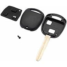 Carcasa de repuesto KATUR color negro para llavero de Toyota Camry Corolla Rav 4Echo, llavero sin cortar con 2botones y en blanco para llave de coche
