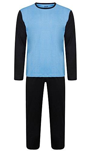 Herren Nachtwäsche PJ Pyjama Satz Zweiteiliger schlafanzug Nacht Tragen 100% Baumwolle - Schwarz / Hellblau - XXX-Large