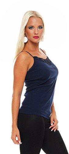 2er Pack Damen Unterwäsche mit Spitze (Unterhemd, Träger-Top, Shirt) Nr. 421 ( Blau-Rot / 56/58 ) - 4