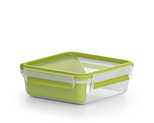 Emsa Lunch- und Snackbox mit praktischem Einsatz und Deckel, Sandwichbox, Volumen: 0,85 Liter, Transparent/Grün, Clip & Go, 518104