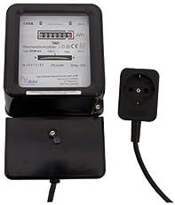REV WECHSELSTROMZÄHLER ǀ plus Zwischenstecker mit 1,5 m Zuleitung ǀ mechanischer Zwischen-Stromzähler zur internen Energieverbrauchs-Kontrolle ǀ 230V~ 10A 50Hz ǀ Farbe: schwarz