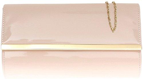 H&G Ladies Patent Glossy Fashion Clutch  Evening Bag (Flesh) Flesh