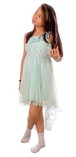 Miss Aylan Festliches Mädchen Kleid mit Stola Strass Perlen Blumen Prinzessinnenkleid M534mi Mint Grün 116
