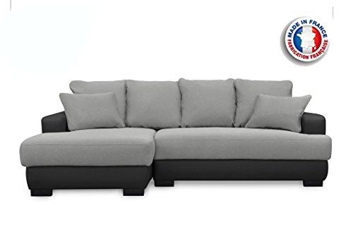 Canapé lit Canapé d'Angle Convertible/Irréversible Gris/Noir 233 x 147 x 83 cm,Canapé d'angle Simili Cuir 5 places