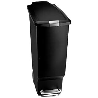 simplehuman Slim Pedal Bin - 40 L, Black Plastic