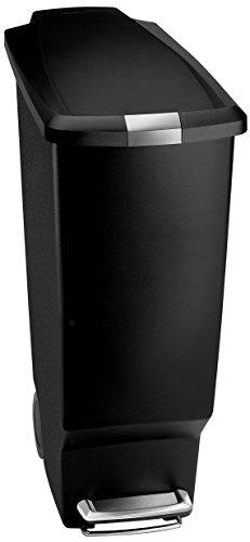 simplehuman CW1361 - Cubo de basura con tapa y ruedas (plástico, 40 L), color negro