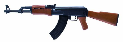 Softair Gewehr 202229 Kalashnikov AK 47 wood Kaliber 6 mm Federdruck < 0.5 Joule (Schwarz-woods-magazin)