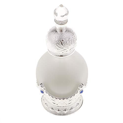 SM SunniMix 15ml Mini Bouteille de Parfum Vide en Verre Cristal Style Arabe Flacon Pulvérisateur Vaporisateur Rechargeable - argent