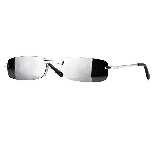 Caripe sportliche Sonnenbrille Herren rechteckig rahmenlos verspiegelt - herso (One Size, Modell 1 - silber - silber verspiegelt)