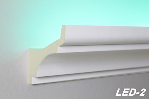 20 Meter LED Profil, PU Stuckleiste indirekte Beleuchtung stoßfest 80x80, LED-2