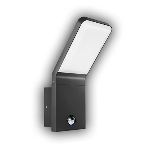 GEV LED Applique Murale Extérieure Nina avec détecteur de mouvement Angle de détection 90 ° Interrupteur crépusculaire, éclairage, IP 44, 570 lm, 3000 K, Blanc chaud, aluminium, 9,5 W, anthracite, 16,5 x 10 x 25,6 cm