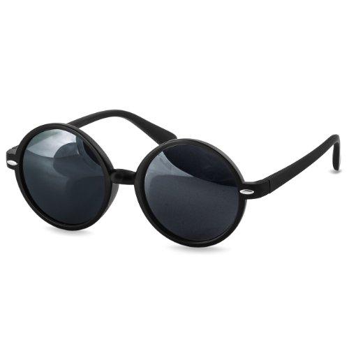 CASPAR SG021 Lunettes de soleil RÉTRO RONDES UNISEXES - verres miroir colorés, Couleur:noir / miroir bleu