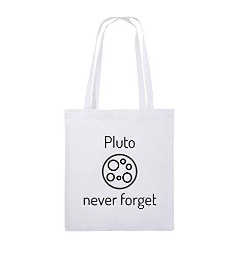 Borse Comiche - Pluto Mai Dimenticare - Borsa In Juta - Manico Lungo - 38x42cm - Colore: Nero / Argento Bianco / Nero