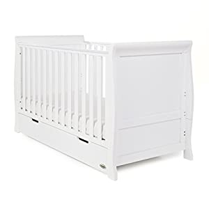 Obaby Stamford Sleigh Classic Cot Bed - White GUYUE Silent caster with brake. Safety rails enclose all four sides of the changing area Strong and sturdy wood construction: Pine + solid wood paint free board. 10