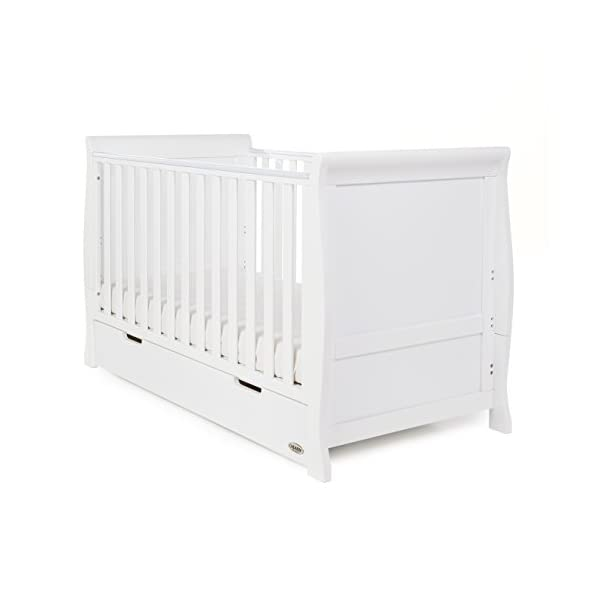 Obaby Stamford Sleigh Classic Cot Bed - White Obaby Adjustable 3 position mattress height Bed ends split to transforms into toddler bed Includes matching under drawer for storage 1