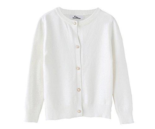 3-knopf-strickjacke (Zhuannian M?dchen Langarm Strickjacke Kinder Cardigan Sweater Mit Perle Knopf(98(2-3Jahren), Wei?))
