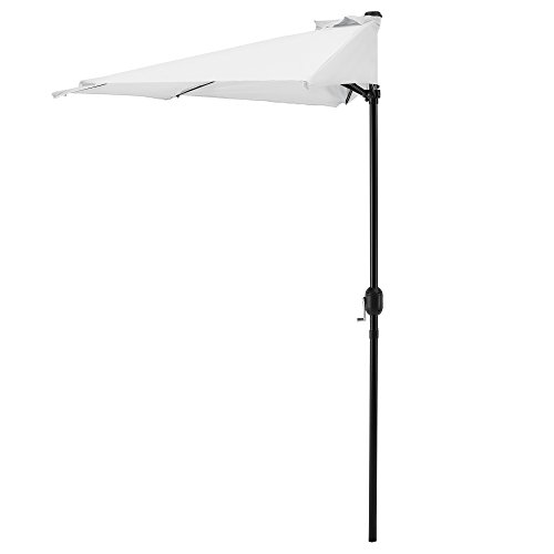 [casa.pro] Parasol avec manivelle blanc demi rond Ø300cm grand balcon jardin