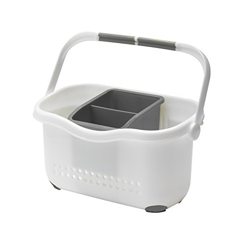 Addis Premium Sink Cutlery Draining Storage Caddy, White Grey, 12 x 24 x 20.5 cm