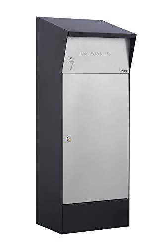 Allux Bjørn F47375 Briefkasten groß XXL | Wasserdichte Abschließbare Sichere Paketkasten | 1100 x 400 x 365 mm | Schwarz und Grau