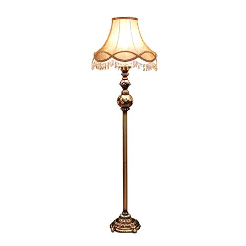 WPCBAA Lámparas nostálgicas talladas en el Piso, líneas hiperbólicas Que se entrecruzan en la Pantalla de Tela, Poste de luz Retro de Metal E27 salón Dormitorio iluminación de Arte