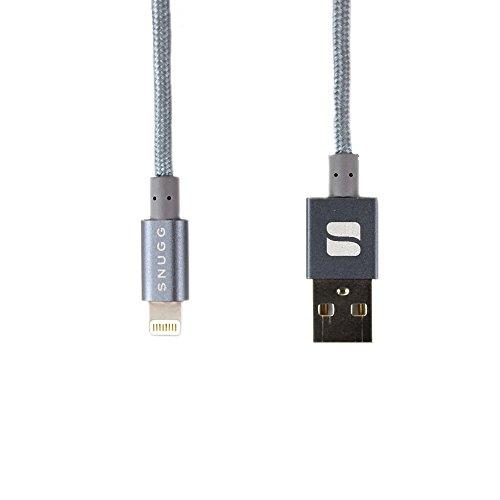 Cable Lightning, Snugg Cable de Carga USB Cargador Para Apple iPhone [Apple MFI Certificado] Nylon Lightning Cable [1m - 3.3ft] Para iPad / iPod / iPhone 7 / 6 / 6s / 5 / 5s / 5c / SE / 4s - Gris