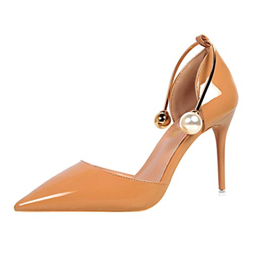 Frauen D-Orsay Pumps Pointed Toe Slip am Knöchel Pearl Strap Sexy Büro Kleid Schuhe Multi-strap Mary Jane