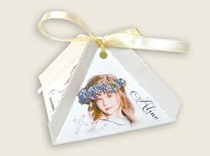 lot de 4 - Boîte à dragées communion ALINE personnalisée avec votre photo et votre texte