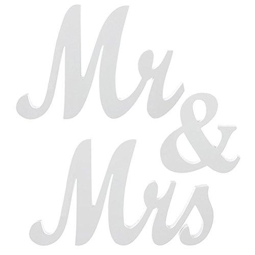 BESTOYARD Schriftzug Holz Mr and Mrs Vintage Dekobuchstaben Zeichen Hochzeit Wand Tisch Dekoration (Weiß) (Mr Und Mrs Hochzeit Tisch Zeichen)